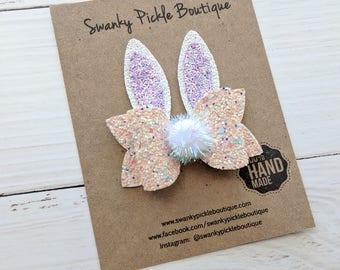 Glitter Bunny Ears,Bunny Hair Clip,Bunny Headband Baby,Toddler Hair Clip,Bunny Hair Clip,Easter Hair Bow,Easter Headband,Peach Lavender