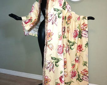 """4 PANELS Fringed Drapes Curtains Draperies Vintage 40s 50s Yellow Floral Cotton 1940s 1950s Livingroom or Bedroom Home Decor 96"""" long Lined"""