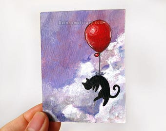 Black Cat ACEO Original Painting, Red Balloon, Pet Portrait, Art Card, Bedroom Decor, Nursery Gift, Purple Sky, Cat Owner