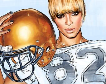 Queen Bee Beyonce Superbowl Art Print- matted 5x7