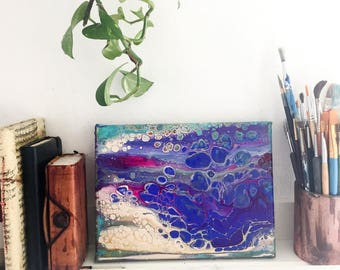 Small painting, abstract original painting, birthday gift, blue, artistic, home decor, wall art, contemporary art, fluid acrylic