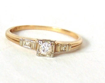 14k-18k Diamond Engagement Ring in White and Yellow Gold, Vintage