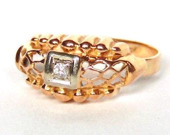 Sale! 14K Gold Swiss Cut Diamond Ring Band, Two Tone Gold, Vintage, Wedding, Anniversary