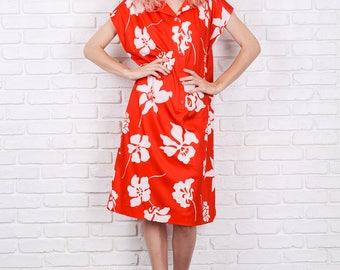Vintage 70s Red Mod Dress Hawaiian Floral Print Shift XL 9824