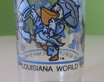 1984 Louisiana World's Fair Exposition New Orleans Juice Glass Seymore the Pelican