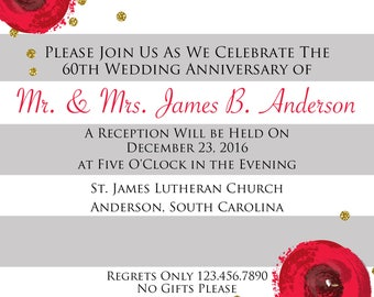 Red and Grey Roses Invitation