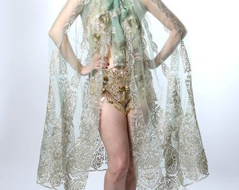 Deco Style Sheer Embroidered Cape