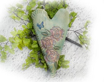 Flower heart - Heart with roses  - wall sculpture heart - home decor heart - ceramic wall heart   - green heart - OOAK heart -     # 171