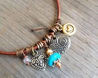 Leather Bracelet Charm Bracelet Southwestern Boho Bracelet Heart Turquoise Bracelet Simple Earthy Brown Bracelet Mixed Metal Santa Fe Love