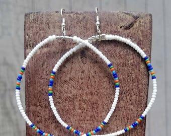 White Hoop Earrings, Beaded Tribal Earrings