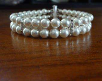 Pearl bracelet, 2 Strand pearl bracelet, Swarovski pearl bracelet,Crystal rhinestones and pearl bracelet, Wedding bracelet,Classic,Elegant