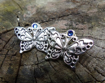 Soldered Butterfly post earring jewelry stud post earring silver butterfly soldered jewelry crystal stone blue crystal insect jewelry