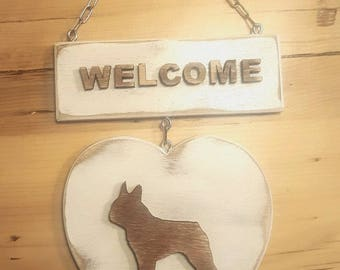 Welcome - Heart with French bulldog or any other dog breed