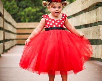 Minnie Mouse Dress - Tulle Minnie Dress - Minnie Birthday Dress - Tulle Twirl Dress - Girl Disney Dress - Minnie Dot Dress - Tulle Birthday