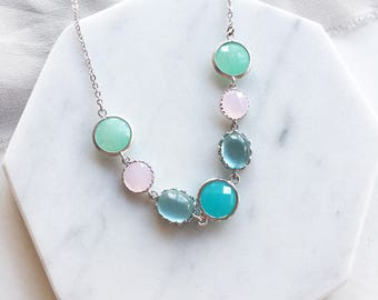 Silver Bib Necklace, Pastel Color, Jewel Tone, Modern, Boho Chic, Work Jewelry, Wedding, Bridal Shower, Maid of honor Necklace