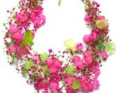 Pink necklace, Beaded greenery jewelry, Flower seed bead jewellery, Trending now, Wedding gift, Womens necklace, Boho jewelry, Gift for her