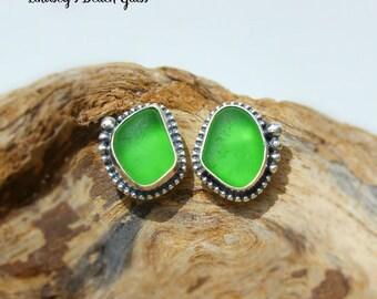 Hawaiian Emerald Green Beach Glass Set in Sterling Silver Handcrafted Bezel set Earrings Studs