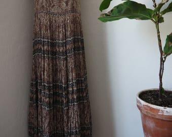Vintage Bila Maxi boho, hippie, festival dress / VTG 90's grunge BILA dress India cotton brown hippie Gypsy maxi / india maxi dress