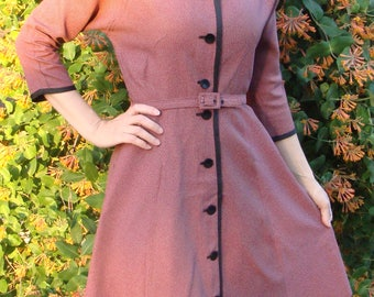 pink and black BELTED VINTAGE SHIRTWAIST dress 1950's 1960's S 27 waist