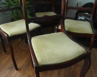 Rose Carved Back Dining Chairs Duncan Phyfe Mahogany Finish Vintage Side Chairs  Set Of 4 Accent