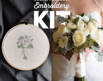 Embroidery Kit DIY Custom Bouquet Embroidery Hoop Art - 5 inch