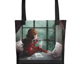 Rainy day reading tote bag