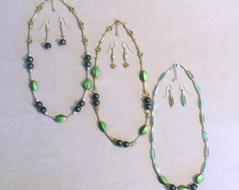 Chartreuse Shimmer Beaded Necklace w/Earrings, Necklace Set, Beaded Jewelry, Green Jewelry Set, Handmade Beaded Jewelry, Trendy Ladies Gift