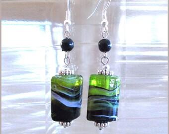 Bright Green White & Black Lampwork Bead Earrings, Green Glass Bead Earrings, Handcrafted Lampwork Bead Earrings, Handmade Beaded Jewelry