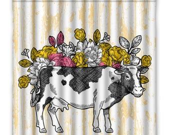 Farmhouse Chic Rustic Cow Shower Curtain - Rustic Faux Wood - Live Stock Shower Curtain -Rustic Bathroom - Bathroom Decor