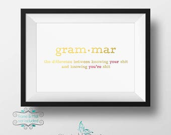 Gold and Red Foil Foil Grammar Definition between Your and You're 5 x 7 Print