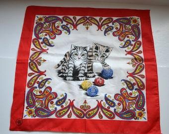 Vintage cat paisleys Bandana Kerchief  Bandana biker head scarf poly cotton bandana Made in USA Created with pride animal lovers scarf