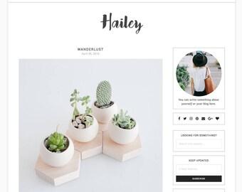 "Wordpress Theme Responsive Blog Design ""Hailey"" - Clean simple feminine"