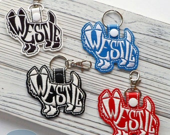 Westie Terrier Text Filled Key Fob, Purse Charm, Bag Tag