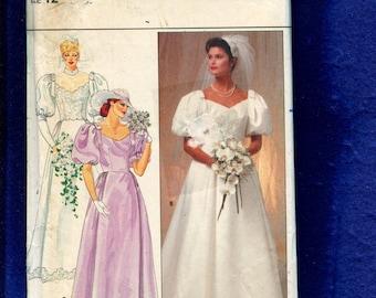 Vintage 1980s Butterick 4766 Classic Retro Puff Sleeve Wedding & Bridesmaid Dresses  Size 12 UNCUT