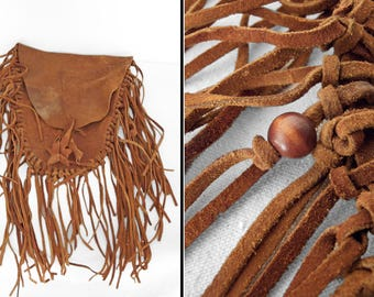 Suede MEDICINE Bag 60s Hippie Tribal Fringed Wood Bead Thrashed Pouch Weathered