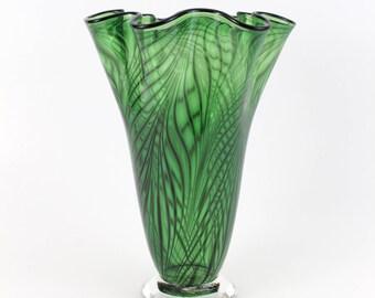 Hand Blown Glass Vase in Green