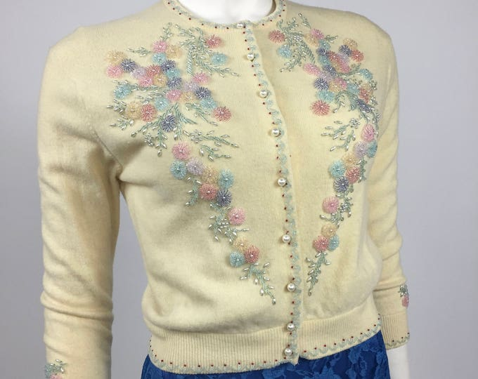 Vintage 50's / 60's Beaded Angora Cardigan Sweater - Coloured Floral Bead Embellished Ivory Angora Blend Knit - Retro Cardi - Small