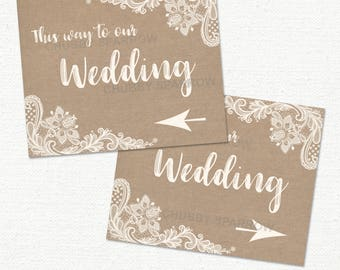 """Wedding Directional Arrow Signs, This way to our Wedding, Venue Car Parking, Lace & Linen  8x10"""" Printable - Instant download"""