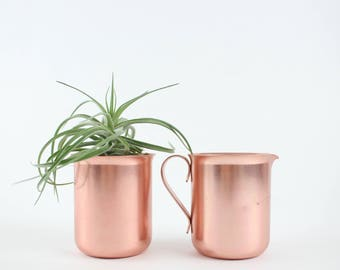 Vintage Copper Cup and Pitcher with Handle and Pour Spout by Color Craft USA