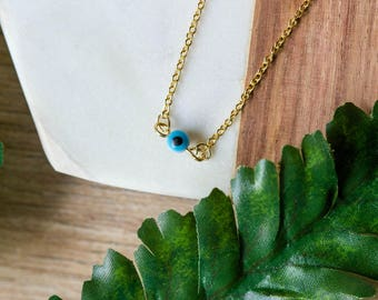 Delicate evil eye choker necklace | Gold plated dainty layering necklace | Gifts for her under 20 | Protection symbol charm necklace |
