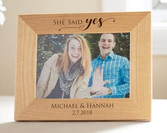 Personalized Engagement Picture Frame: Custom Engraved Engagement Gift, Just Engaged Gift, She Said Yes Picture Frame, SHIPS FAST