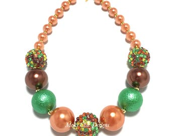 Toddler or Girls Fall Chunky Necklace - Orange, Green, Brown Chunky Necklace - Thanksgiving Chunky Necklace - Autumn Necklace - Halloween