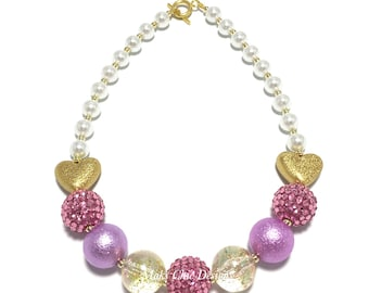 Toddler or Girls Purple, Pink and Gold Heart Chunky Necklace - Valentines Day Chunky Necklace - Gold Heart necklace - Princess Pink necklace