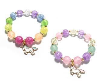Toddler or Girls Small Beaded Unicorn Charm Bracelet - Pink, Purple, Mint and Gold Bracelet - Rainbow Unicorn Bracelet - Unicorn Party Favor
