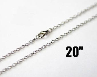 "24 Silver Necklaces - WHOLESALE -  Antique Silver Cable Chains - 3.5x2.5mm - 20"" - Ships IMMEDIATELY from California - CH725b"