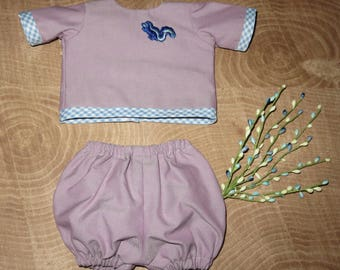"Handmade 14 - 16 Inch Baby Doll Clothes ~ Boys ""Stinky"" Purple, Light Blue and White Gingham Print 2pc Play Set"