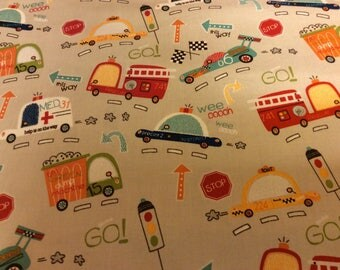 Boys Fabric / Trucks and Fire Engines / On Our Way  / Sewing Fabric / Quilting Fabric / by Riley Blake / C1420