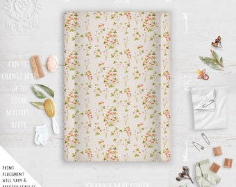 Change Mat Cover/ Boho Nursery Wildflower Autumn Beige or Duckegg, Linen Cotton or Eco Canvas | Fabric by Thistle and Fox | Ships in 4-5 wks