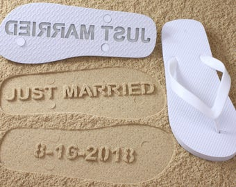 Custom Bridal Flip Flops Wedding Date *check size chart before ordering*