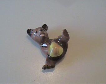 Vintage 1980's miniature Hagen Renaker baby bear with honey pot